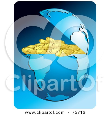 Royalty-Free (RF) Clipart Illustration of a Blue Earth Cracked Open To Conceal Gold Coins by Lal Perera