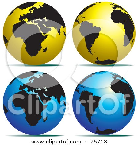 Royalty-Free (RF) Clipart Illustration of a Digital Collage Of Gold And Black And Blue And Black Globes by Lal Perera