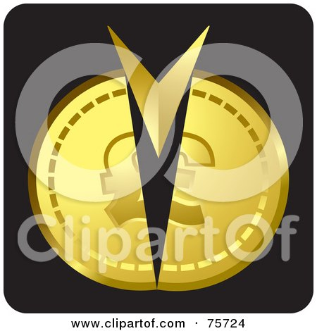 Royalty-Free (RF) Clipart Illustration of an Arrow Splitting A Gold Coin by Lal Perera