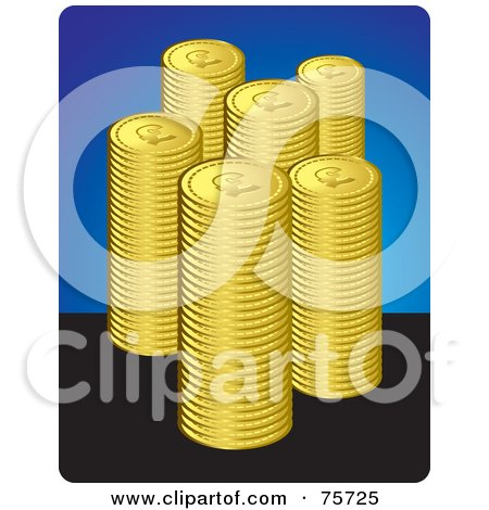 Royalty-Free (RF) Clipart Illustration of Stacks Of Golden Coins Over Blue And Black by Lal Perera