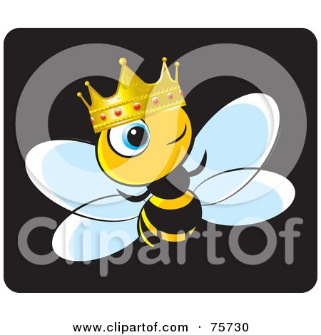 Royalty-Free (RF) Clipart Illustration of a King Bee Wearing A Gold And Ruby Crown by Lal Perera