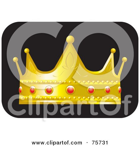 Royalty-Free (RF) Clipart Illustration of a Golden Crown With Ruby Decorations by Lal Perera