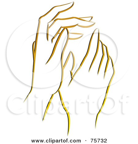 Royalty-Free (RF) Clipart Illustration of a Pair Of Gentle Yellow Female Hands by Lal Perera