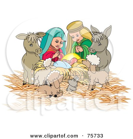 Nativity Scene Of Mary, Joseph And Animals Watching Over Baby Jesus Posters, Art Prints