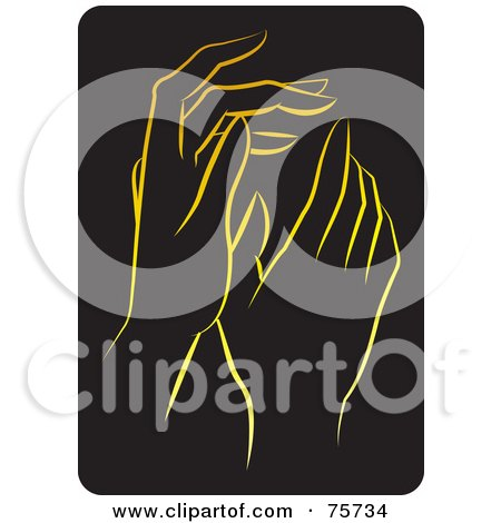 Royalty-Free (RF) Clipart Illustration of a Pair Of Gentle Gold Female Hands by Lal Perera