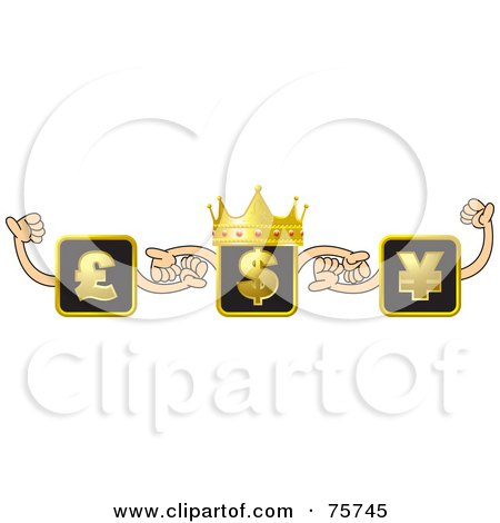 Royalty-Free (RF) Clipart Illustration of a Crowned Dollar Box Holding Hands With Pound And Yen Boxes by Lal Perera