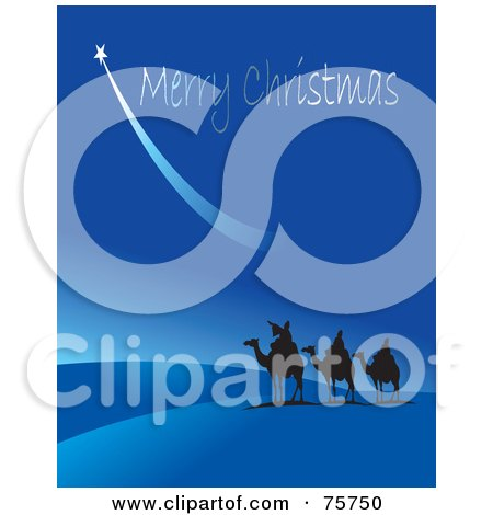 Royalty-Free (RF) Clipart Illustration of The Three Wise Men Silhouetted Under A Shooting Star And Merry Christmas In A Blue Sky by Lal Perera