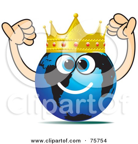 Royalty-Free (RF) Clipart Illustration of a Blue Globe Face Wearing A Ruby And Gold Crown by Lal Perera