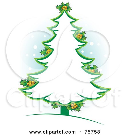 Green Christmas Tree Outline With Holly Posters Art Prints