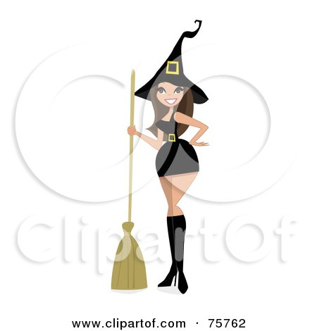 Royalty-Free (RF) Clipart Illustration of a Sexy Brunette Witch Woman In A Short Dress by peachidesigns