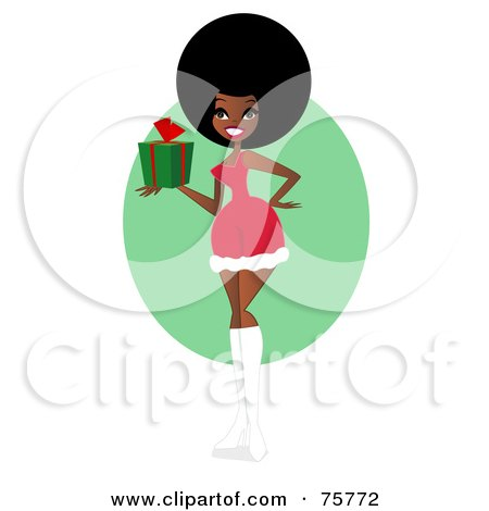 Royalty-Free (RF) Clipart Illustration of a Sexy Black Woman In A Santa Suit, Holding A Gift by peachidesigns
