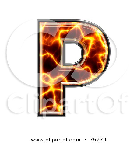 Royalty-Free (RF) Clipart Illustration of a Magma Symbol; Capital Letter P by chrisroll