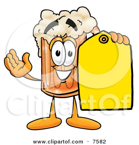 Clipart Picture of a Beer Mug Mascot Cartoon Character Holding a Yellow Sales Price Tag by Toons4Biz