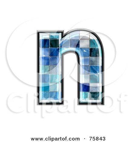 Royalty-Free (RF) Clipart Illustration of a Blue Tile Symbol; Lowercase Letter n by chrisroll