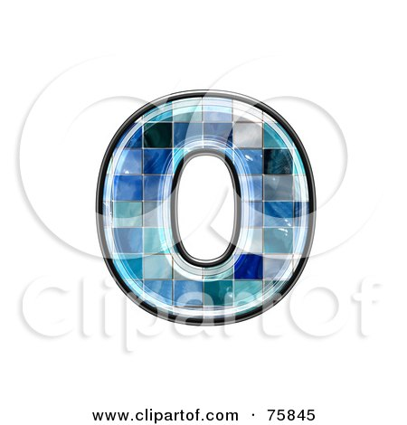 Royalty-Free (RF) Clipart Illustration of a Blue Tile Symbol; Lowercase Letter o by chrisroll