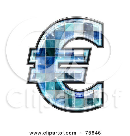 Royalty-Free (RF) Clipart Illustration of a Blue Tile Symbol; Euro by chrisroll