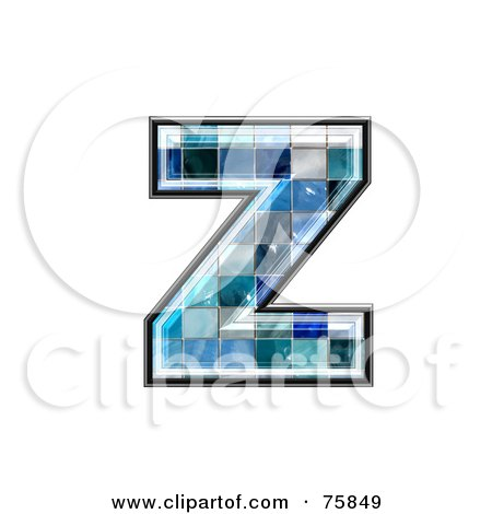Royalty-Free (RF) Clipart Illustration of a Blue Tile Symbol; Lowercase Letter z by chrisroll