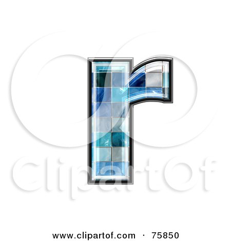 Royalty-Free (RF) Clipart Illustration of a Blue Tile Symbol; Lowercase Letter r by chrisroll