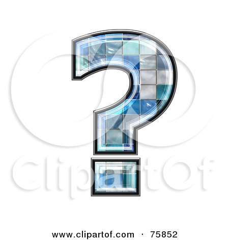 Royalty-Free (RF) Clipart Illustration of a Blue Tile Symbol; Question Mark by chrisroll
