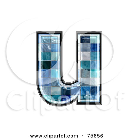 Royalty-Free (RF) Clipart Illustration of a Blue Tile Symbol; Lowercase Letter u by chrisroll