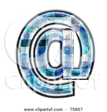 Royalty-Free (RF) Clipart Illustration of a Blue Tile Symbol; Arobase by chrisroll