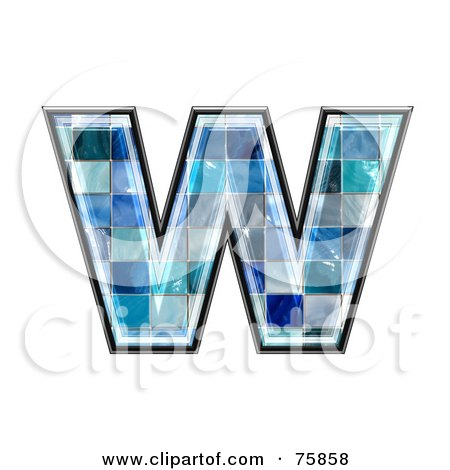 Royalty-Free (RF) Clipart Illustration of a Blue Tile Symbol; Lowercase Letter w by chrisroll