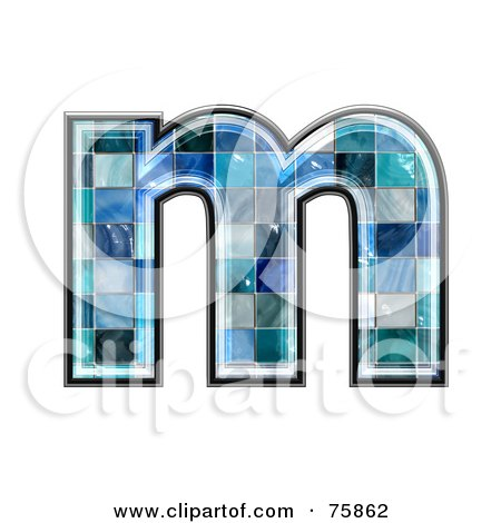 Royalty-Free (RF) Clipart Illustration of a Blue Tile Symbol; Lowercase Letter m by chrisroll
