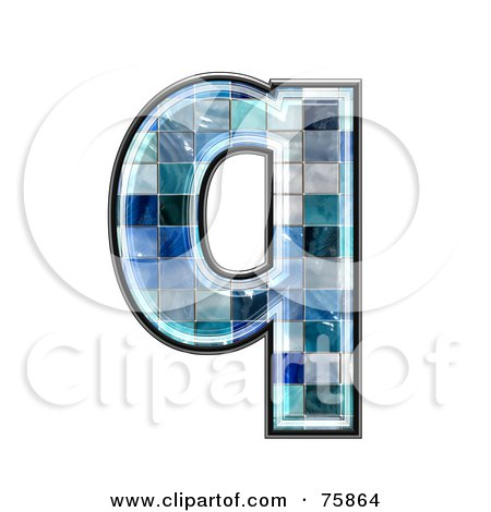 Royalty-Free (RF) Clipart Illustration of a Blue Tile Symbol; Lowercase Letter q by chrisroll