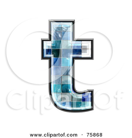 Royalty-Free (RF) Clipart Illustration of a Blue Tile Symbol; Lowercase Letter t by chrisroll