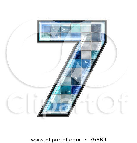 Royalty-Free (RF) Clipart Illustration of a Blue Tile Symbol; Number 7 by chrisroll