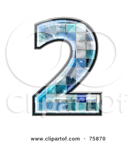 Royalty-Free (RF) Clipart Illustration of a Blue Tile Symbol; Number 2 by chrisroll