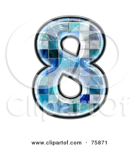 Royalty-Free (RF) Clipart Illustration of a Blue Tile Symbol; Number 8 by chrisroll