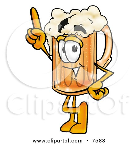 Clipart Picture of a Beer Mug Mascot Cartoon Character Pointing Upwards by Toons4Biz
