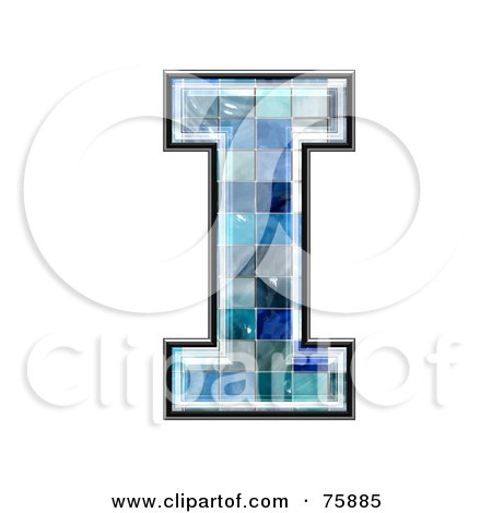 Royalty-Free (RF) Clipart Illustration of a Blue Tile Symbol; Capital Letter I by chrisroll