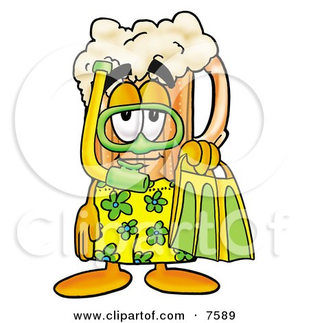 Clipart Picture of a Beer Mug Mascot Cartoon Character in Green and Yellow Snorkel Gear by Toons4Biz