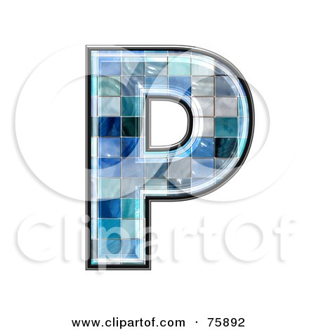 Royalty-Free (RF) Clipart Illustration of a Blue Tile Symbol; Capital Letter P by chrisroll