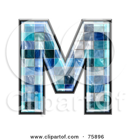 Royalty-Free (RF) Clipart Illustration of a Blue Tile Symbol; Capital Letter M by chrisroll