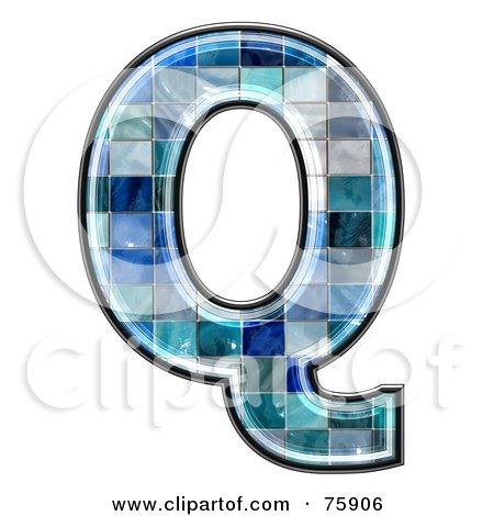 Royalty-Free (RF) Clipart Illustration of a Blue Tile Symbol; Capital Letter Q by chrisroll