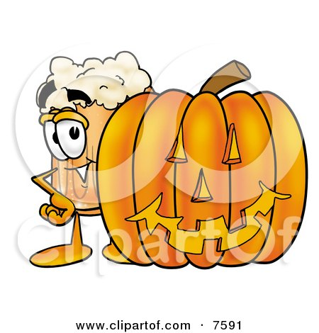 Clipart Picture of a Beer Mug Mascot Cartoon Character With a Carved Halloween Pumpkin by Toons4Biz