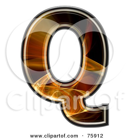 Royalty-Free (RF) Clipart Illustration of a Fractal Symbol; Capital Letter Q by chrisroll