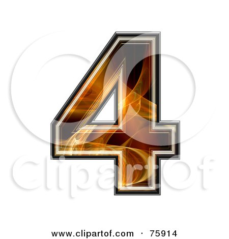 Royalty-Free (RF) Clipart Illustration of a Fractal Symbol; Number 4 by chrisroll