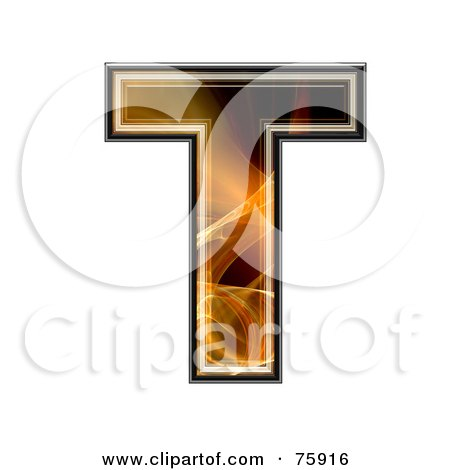 Royalty-Free (RF) Clipart Illustration of a Fractal Symbol; Capital Letter T by chrisroll