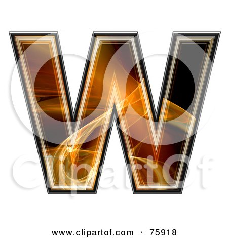 Royalty-Free (RF) Clipart Illustration of a Fractal Symbol; Capital Letter W by chrisroll