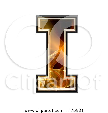 Royalty-Free (RF) Clipart Illustration of a Fractal Symbol; Capital Letter I by chrisroll