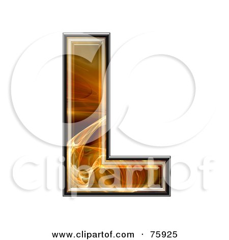 Royalty-Free (RF) Clipart Illustration of a Fractal Symbol; Capital Letter L by chrisroll