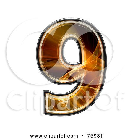 Royalty-Free (RF) Clipart Illustration of a Fractal Symbol; Number 9 by chrisroll
