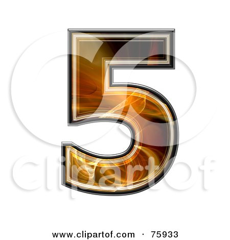 Royalty-Free (RF) Clipart Illustration of a Fractal Symbol; Number 5 by chrisroll