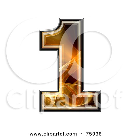 Royalty-Free (RF) Clipart Illustration of a Fractal Symbol; Number 1 by chrisroll