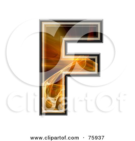 Royalty-Free (RF) Clipart Illustration of a Fractal Symbol; Capital Letter F by chrisroll