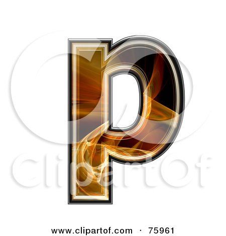 Royalty-Free (RF) Clipart Illustration of a Fractal Symbol; Lowercase Letter p by chrisroll